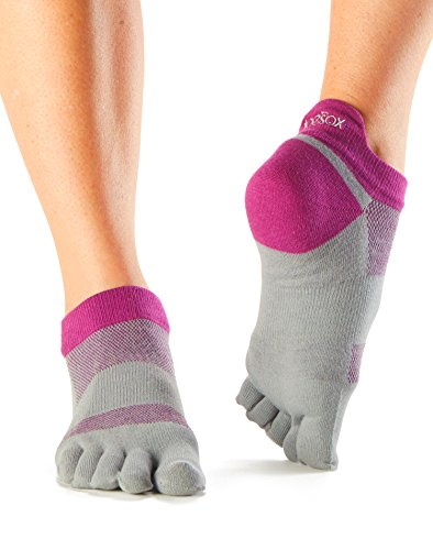 ToeSox Women's Lolo Performance 5 Toe Sport No Show Toesocks (4AM Orchid) Small