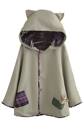 Aza Boutique Girls Cute Button Down Tweed Cat Ears Hooded Cape
