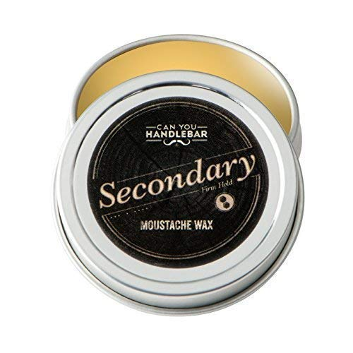 Secondary Strong Hold Moustache Wax For Men | All-Natural Ingredients | 1 Oz. Stainless Steel -