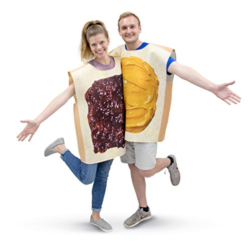 [Peanut Butter & Jelly Adult Couple's Halloween Costume PBJ Party & Cosplay Suits] (Funny Halloween Couple Costumes)