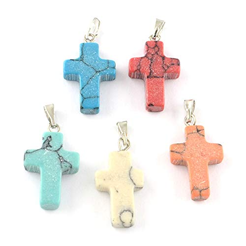 Fashewelry 100Pcs Mixed Colors Dyed Synthetic Turquoise Cross Dangle Pendants 23.5x15mm with Platimum Plated Bails ()