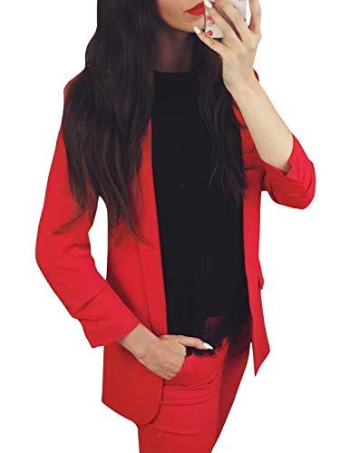 Autunno Di Business Giacca Manica Mode Lunga Lungo Rot Marca A Monocromo Donna Outwear Elegante Moda Giovane Bavero Blazer Maglia 5ZSq8n