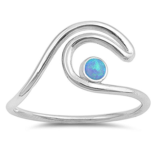 Sterling Silver Double Wave (Sterling Silver Double Wave with Round Lab Created Blue Opal Ring Sizes 10)