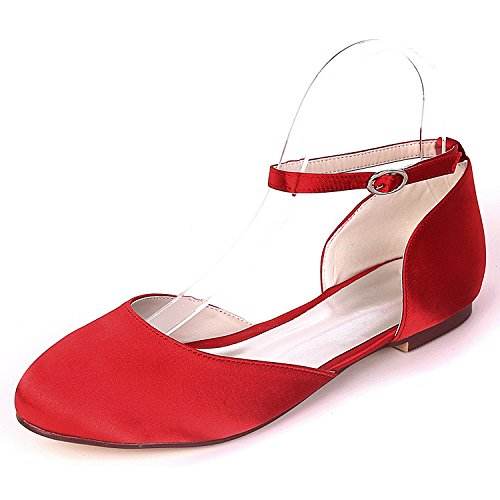 L@YC Women Wedding Shoes Buckle Mid Heels Satin Handmade 0.6cm Heel Evening Autumn Fashion Red