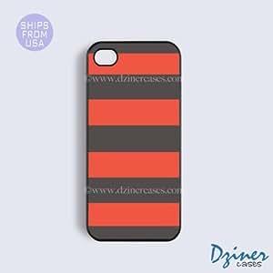 Case Cover For SamSung Galaxy S4 Tough Case - model - Orange Grey Stripes