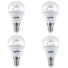 LightMe Super Bright 5W 420Lm LED Bulbs E14 Mini Globe Bulb Energy Saving Lamps for Bathroom, Kitchen, Bedroom Lighting-4 Packs(Warmwhite)