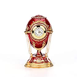 QIFU Faberge Egg Style Hand Painted Hinged Jewelry Trinket Box, Vintage Table Clock for Home Decor, Unique Gift for Family