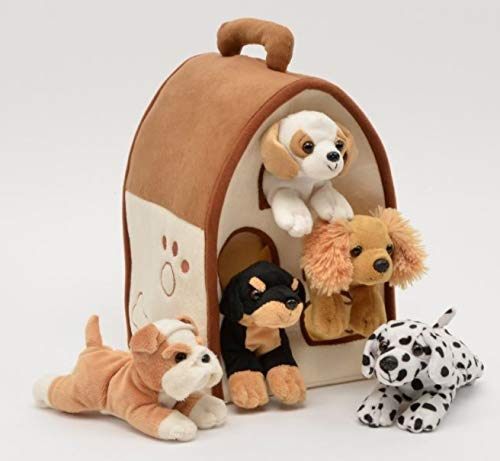 (Plush Boy Dog House Carrying Case with Five Stuffed Animal Dogs)