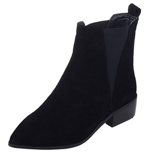 Black Chelsea Toe Elastic Boots Ankle High Pointed Fashion Women TAOFFEN 0qzFOO