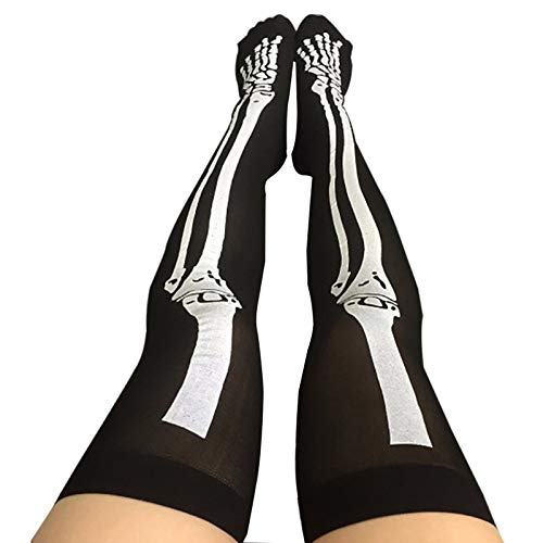 Corcrest - Funny Cosplay Striped Over The Knee Stockings Halloween Blood Forked Bone Pattern Women's Cosplay Terror Blood Socks [Olive] ()