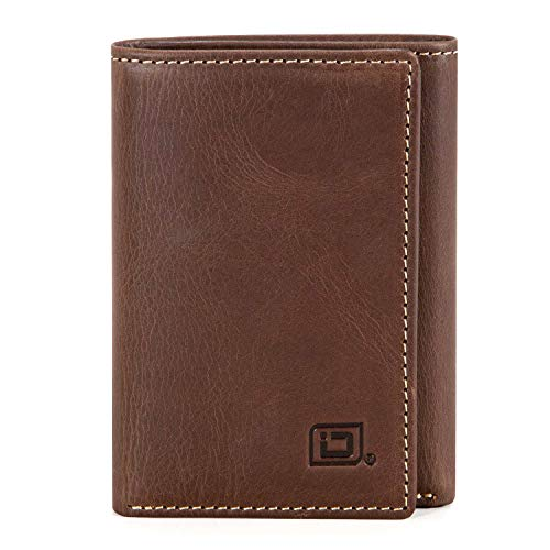 Slim RFID Blocking Trifold Wallet for Men - Genuine Leather (Classic Brown)