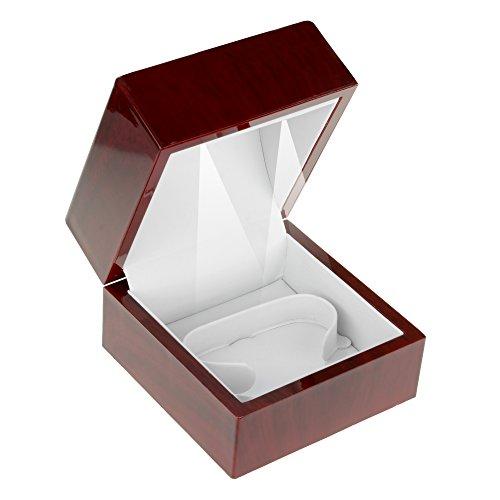 Geff House Cherry Wood Style Plastic Bangle Bracelet Gift Box with LED Lights (White (Style Wood Box)