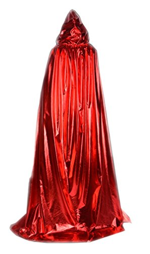 Hooded Cloak Role Cape Play flared Costumes Metal Red 170cm