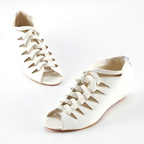 TAOFFEN Mujer Botines Sandalias Gladiador Peep Toe Cremallera Tacon Bajo Zapatos Blanco