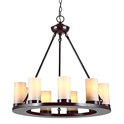 Sea Gull Lighting Ellington 9-Light Round Chandelier - 27W in. Burnt Sienna