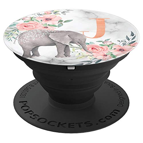 Elephant Flowers Marble Pink Monogram Name Initial Letter J - PopSockets Grip and Stand for Phones and Tablets