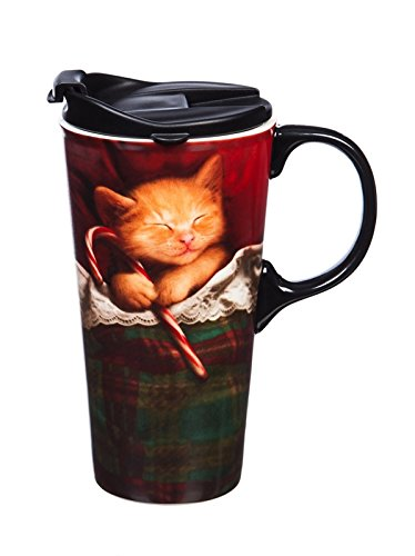Cypress Home Sleeping Cat Ceramic Travel Mug with Gift Box, 17 ounces