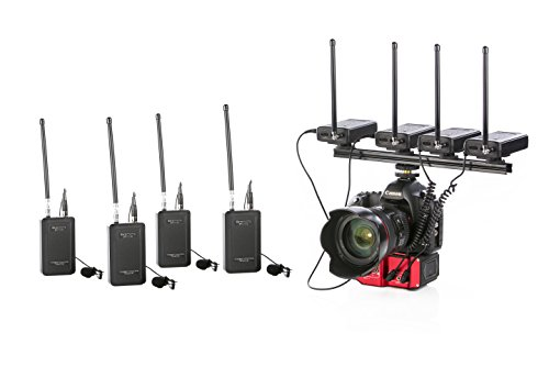 Saramonic Quad Wireless VHF Lavalier Microphone Bundle with 4 Transmitters, 4 Receivers, Premium Audio Mixer, and Shoe Mounting Bracket for DSLR (Vhf Receivers)