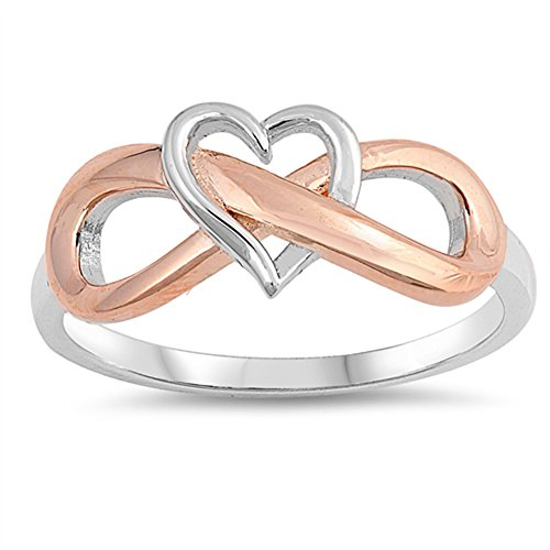 Heart Infinity Two Tone Cutout Love Ring New 925 Sterling Silver Band Size 5
