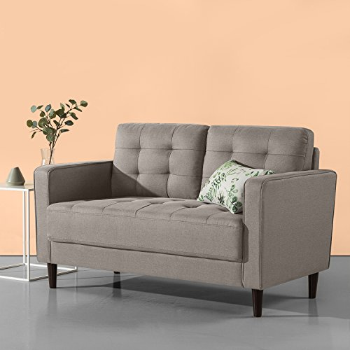 Zinus Mid-Century Upholstered 52.8in Sofa Couch/Loveseat, Stone Grey Weave
