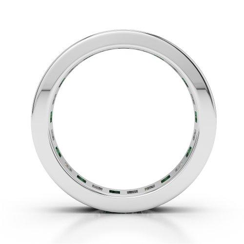 Or blanc 18carats 2,25CT G-H/VS sertie de diamants ronds découpé Émeraude et bague éternité Agdr-1134
