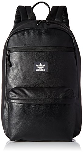 adidas Originals National Backpack, Black Pu Leather, One Size