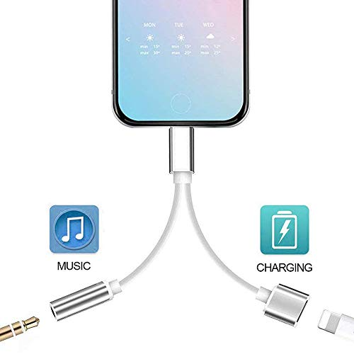 for iPhone Headphone Adapter to 3.5 mm Headphone Jack Adapter for iPhone 8/8 Plus/X /7/7 Plus/XR/Xs Max Audio Aux Earphone Earbuds Connector Adapter Charge and Headphone Support All iOS System