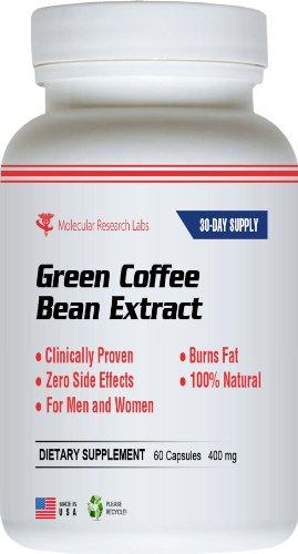 Vert Coffee Bean Extract 800 mg par dose, 60 capsules par bouteille (Contient de l'acide chlorogénique). 100% Pure Formule All Natural Weight Loss. Complet de 30 jours d'approvisionnement. Max Green Café par dose. 400 mg par capsule.
