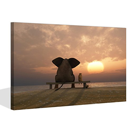 Visual Art Decor Modern Wall Art Fancy Sunset Elephant and Dog Old Friends Photo Picture Framed and Stretched Ready to Hang (Sunset Sea, 24
