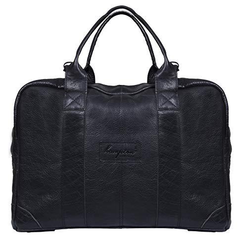 Genuine Black Leather Messenger Travel 17
