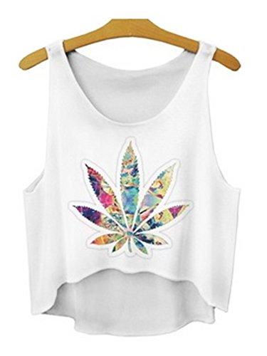 (Women 3D Cute Emoji Crop Tops Shirts Top Tank Sleeveless Hemp Weed Leaf)