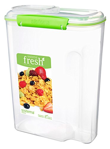 Sistema 951450 Fresh Collection Cereal Food Storage Container, Clear/Lime Green
