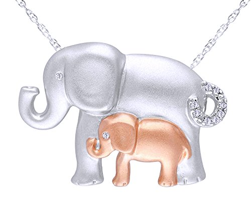 Natural Diamond Accent Motherly Elephant Pendant Necklace in 14K Gold Over Sterling Silver (Diamond Clover Pendant Accent)