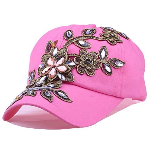 (Diamond-Studded Baseball Cap Women Flower Snapback Cap Diamond Sun Visor Sports Hat Pink)
