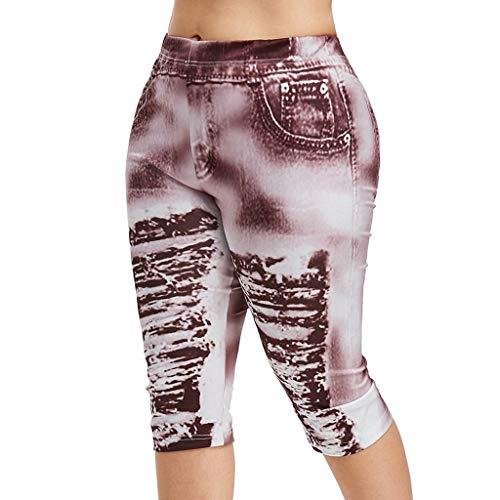 Women Fashion High Waist Yoga Pants Plus Size 3D Ripped Jean Print Legging]()