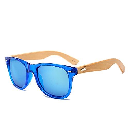Sunglass th¨¦ Oculos Lunettes bambou Vintage Bois Miroir soleil Lunettes Bleu Lunettes Brown 2140 Bleu soleil de Hommes Pynxn Femmes UV400 de carr¨¦ Real aqxc50R