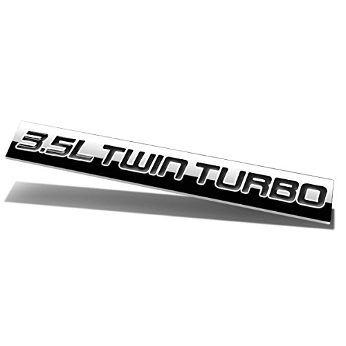 Chrome Finish Metal Emblem 3.5L Twin Turbo Badge (Black Letter) (Ls4 Emblem)