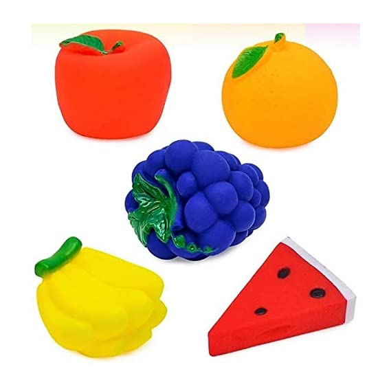 SaleOn 5pc Big Size Fruits chu chu Non-Toxic BPA Free Soft Rubber Float Squeeze Squeaky Bathing Toy for Baby Bath Toys
