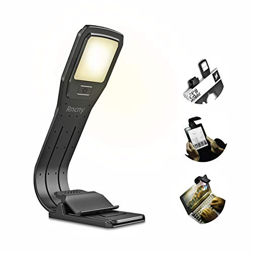 Rncyn [2800K] Warm LED Book Light Reading Lamp USB Rechargeable,Adjustable 4-Level Brightness Flexible and Easy Clip