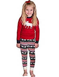 Cocobla Family Matching Christmas Pajamas Moose Printed Sleepwear Sets for the Family