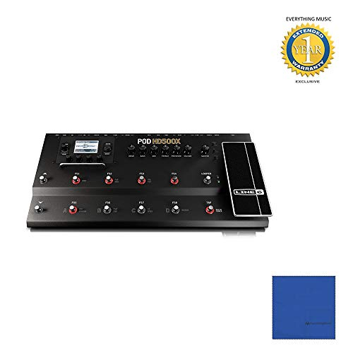Line 6 POD HD500X Guitar Floor Multi-Effects Pedal with Microfiber and 1 Year Everything Music Extended Warranty