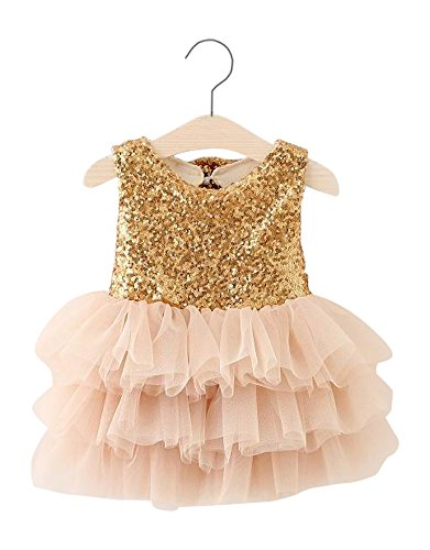 [Gatsby Little Girl Tiered Tutu Skirt With Sequin Bows Gold (2T)] (Gatsby Dress Cheap)