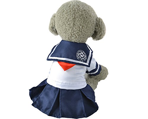 S-Lifeeling Cozy Navy Dress Sweet Teddy Dog Clothes Puppy Spring Summer Pet Costumes