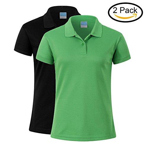 Averywin Ladies Polo Shirts 2 Pack, Womens Sport Wear Polo Short Sleeve Summer T Shirts (Black+Green, 2XL / 44.09'' Bust) by Averywin