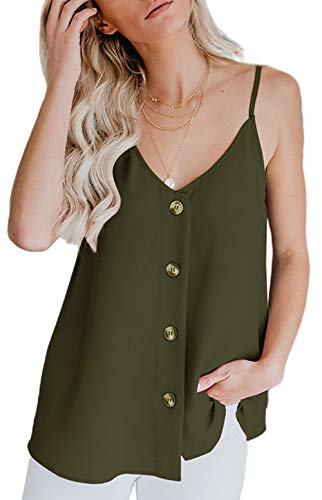 Fancyskin Women's Casual Button Down V Neck Cami Tank Tops Sleeveless Blouses,Army Green,Small ()