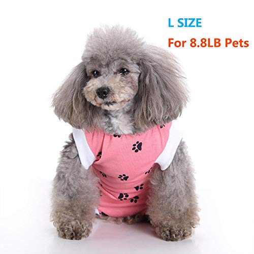 NEPPT Dog Recovery Suit Cat Surgical Surgery Shirt for Cats and Dogs After Surgery Wear Clothes Pet Recovery Suit Post Surgical Dog Onesie - 8.8LB (L Pink)