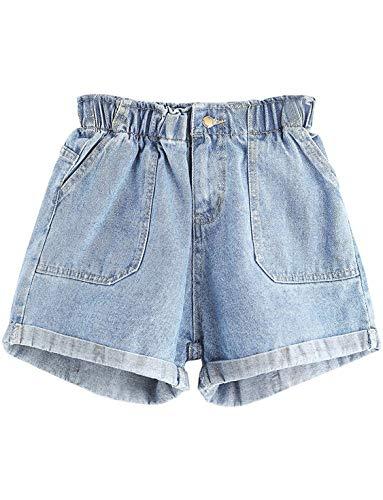 - UUpipa Women's Elastic Waist Rolled Hem Summer Denim Shorts Jeans