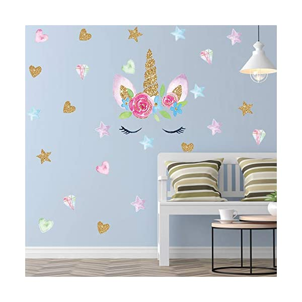 Unicorn Wall Decal, 4 Pack, 4 Styles, Unicorn Wall Stickers Decor with Heart & Stars for Girls Bedroom Home Decorations 7