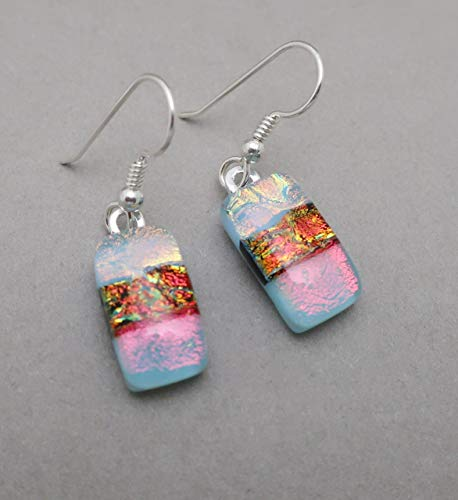 Modern Art blue red fused dichroic glass drop Sterling Silver earrings #219