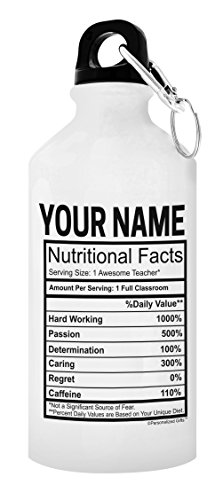 Personalized Teacher Gifts for Women Custom Teacher Name Nurtritional Facts Teacher Gifts for Men Personalized Gift 20-oz Aluminum Water Bottle with Carabiner Clip Top ()